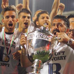 Rino Gattuso Festeggia la promozione in  Serie b del Pisa